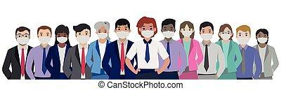 masques, vecteur, -, stérile, gens, monde médical, groupe