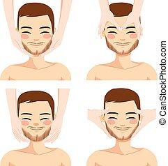 massage facial, homme