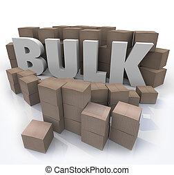 masse, produit, achat, mot, beaucoup, volume, boîtes, quantité