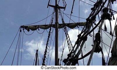 mast., détail, bateau, galion