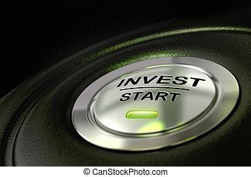 matériel, couleur, résumé, noir, métal, textured, arrière-plan., début, principal, barbouillage, investissement, investir, vert, effect., bouton, foyer, concept, mot