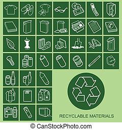 matériel, icônes, recyclable