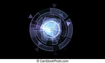 matériels, def, bleu, logiciel, rotation, verre, interface