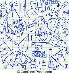 mathématique, doodles, seamless, modèle