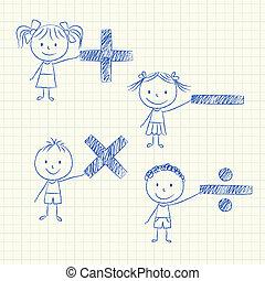 mathématique, gosses, signes