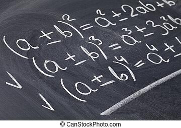 mathématique, tableau noir, équations