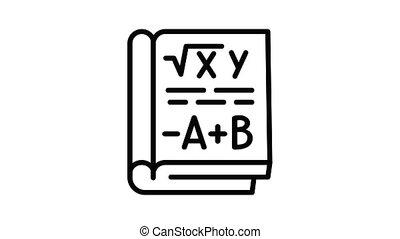 mathématiques, animation, icône, livre