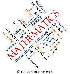 mathématiques, concept, mot, nuage, incliné