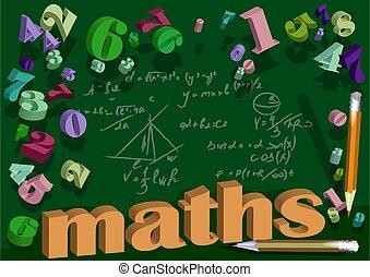 maths, fond, nombre