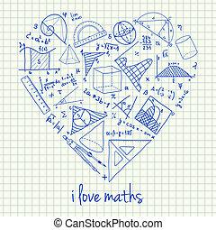 maths, forme coeur, dessins