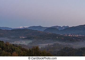 matin, brumeux, tôt, paysage
