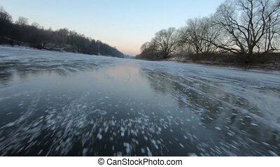 matin, rivière, patinage glace, jour