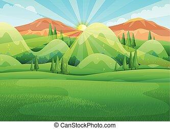 matin, scène, levers de soleil, nature