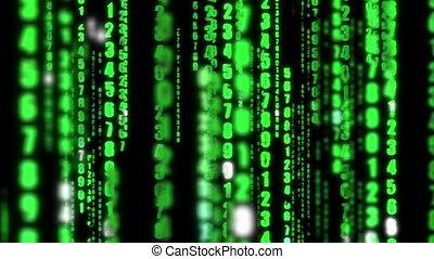 matrice, données, numérique, langage informatique, fond, binaire