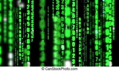 matrice, fond, numérique, données ordinateur, code binaire