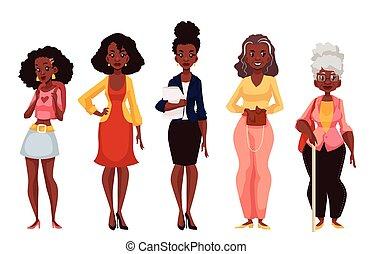 maturité, noir, femmes, différent, jeunesse, âges