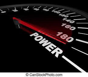 max, compteur vitesse, -, puissance