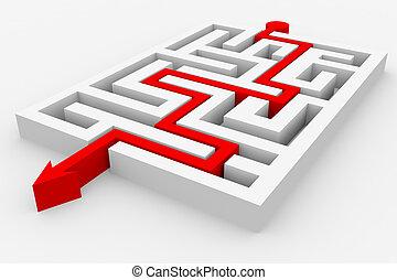 maze., aller, par, flèche rouge
