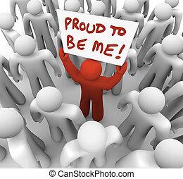 me, être, différent, foule, fier, signe, personne, tenue, unique