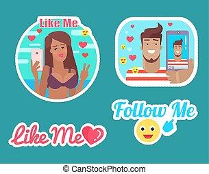 me, aimer, bloggers, vecteur, femme, suivre, mâle