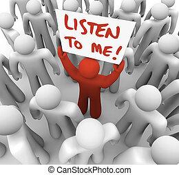me, foule, obtenir, attention, signe, personne, tries, écouter