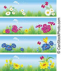 meadow., bannières, vecteur, fleurs, illustration