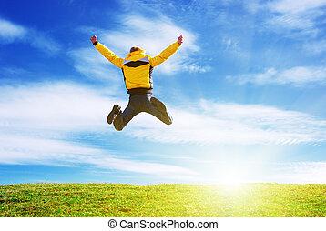 meadow., homme, saut, vert