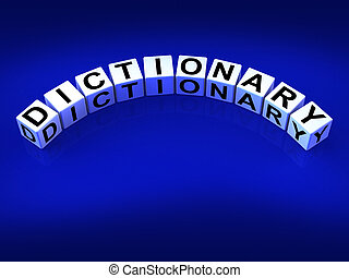 meanings, dés, référence, moyens, dictionnaire, mots
