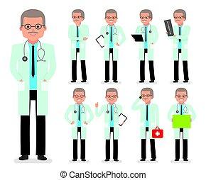 medic., docteur, set., création, caractère, pédiatre, médecin