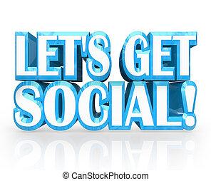 meet-up, obtenir, social, laissons, mots, invitation, fête, 3d