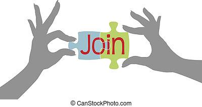 membre, puzzle, joindre, ensemble, mains