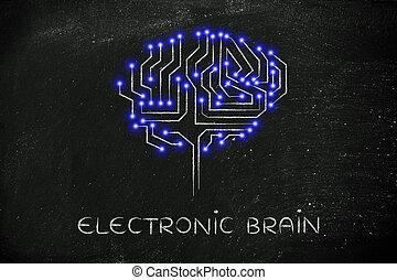 mené, cerveau, lumières, sous-titre, circuit, puce, électronique