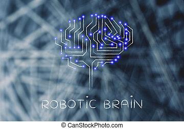 mené, lumières, circuits, cerveau, forme, robotique, puce