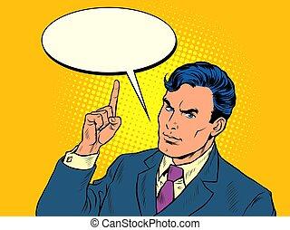 menace, doigt, homme affaires