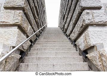 mener, escalier, haut