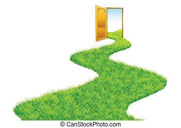 mener, herbe, vert, route, mondiale