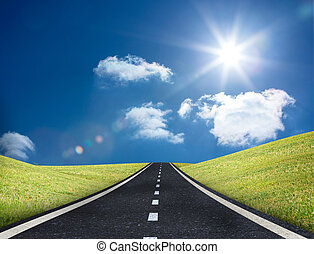 mener, route, dehors, horizon