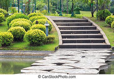 mener, sur, parc, lac, béton, étapes, walkway, par