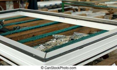 mensonge, gros plan, rideaux, fenetres, fenetres, pvc, plastique, tournevis, production, profils, cadres, vis, fabrication, table