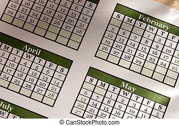 mensuel, calendrier, 2012, année