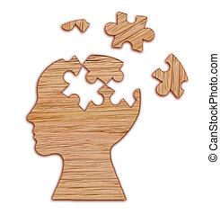 mental, humain, silhouette, santé, symbole., puzzle., tête