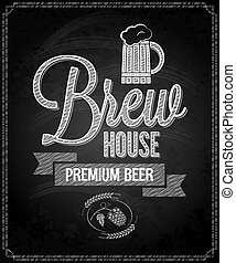 menu, bière, conception, tableau, fond, maison