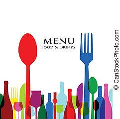 menu, conceptions, couverture, retro, restaurant