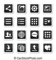 menu, ensemble, outils, paramètres, icônes