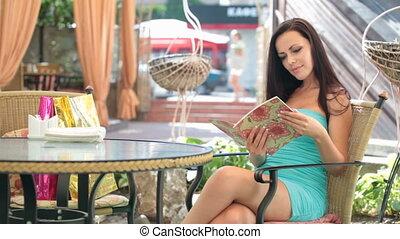 menu, femme, café, lecture