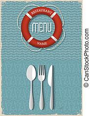 menu, fruits mer, conception, retro, restaurant
