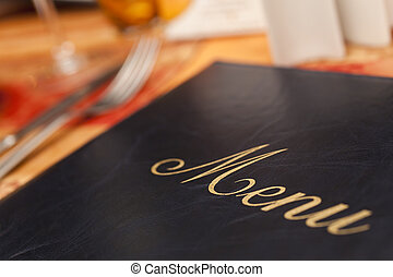 menu, &, table, coutellerie, restaurant