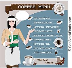 menu, tasse à café, girl