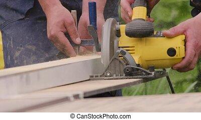 menuisier, haut, fabrication, tools., électrique, charpentier, planche, fin, coupures, puissance, artisan, scier, saw., réparation, circulaire, travail, bois, scie, blade., house., panel., charpenterie, meubles, action.