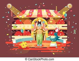 mer, exposition, entraîné, balles, style, exécuter, veau, caractère, animal, intérieur, performance, vide, jongleries, plat, solitaire, arène, cirque, illustration, cachet, dessin animé, chien, clown, vecteur